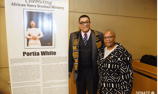 20180320 672x402 Committee Chair Senator Wanda Thomas Bernard with Craig Smith chair and President of the Black Cultural Society for NS.png