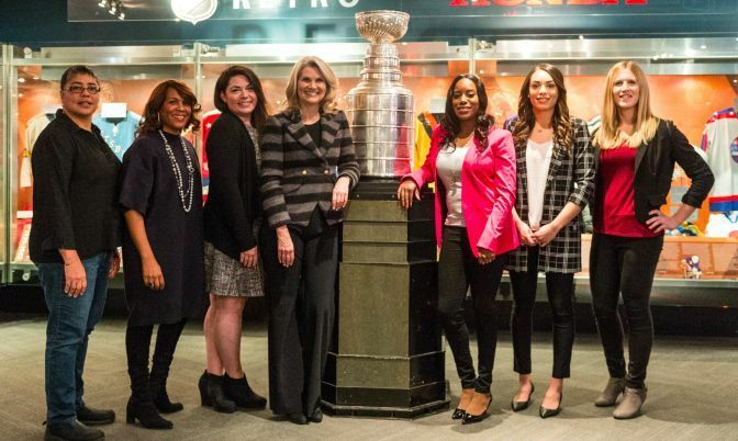 At the Hockey Is Her: Celebrating women in hockey event. L-R: Angela James (4X IIHF World Women's Champio), Kim Davis (Executive Vice President, Social Impact, Growth Initiatives, & Legislative Affairs, NHL), Jennifer Chefero (Assistant Coach, Scarborough Wexford Raiders), Christine Simpson (Reporter, NHL on Sportsnet), Ainka Jess (founder She's4Sports), Sarah Nurse (Olympic silver medalist -Team Canada, CWHL player, Toronto Furies) and Jessica Platt (CWHL player, Toronto Furies).