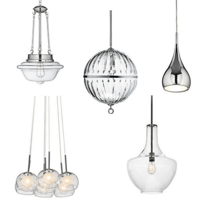 A variety of chrome pendant light fixtures for kitchens