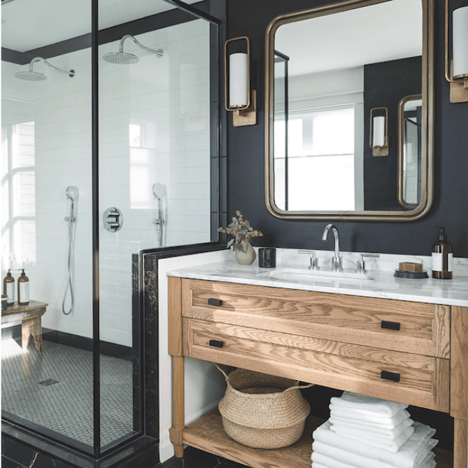 industrial style enclosure in bathroom stall