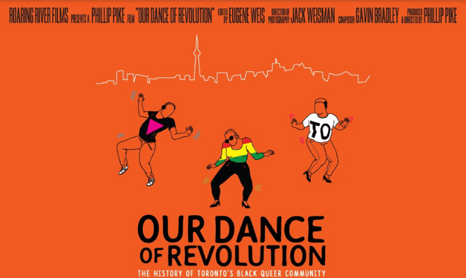 Orange Poster for Our Dance of Revolution: The History of Toronto's Black Queer Community. A Roaring River Film, Directed by Phillip Pike.
