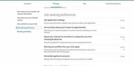 A screenshot of the LinkedIn profile menu where users can select the option 'open to opportunities'