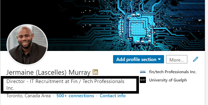 A screenshot of the segment of a LinkedIn profile containing the profile photo and headline with a red box around user's job title