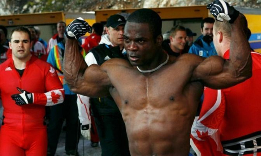 Lascelles Brown of Canada strikes a pose after his team finished third in the Men's Four-Man Bobsleigh event to capture the bronze medal on February 27, 2010 in Whistler, B.C. during the 2010 Olympic Winter Games