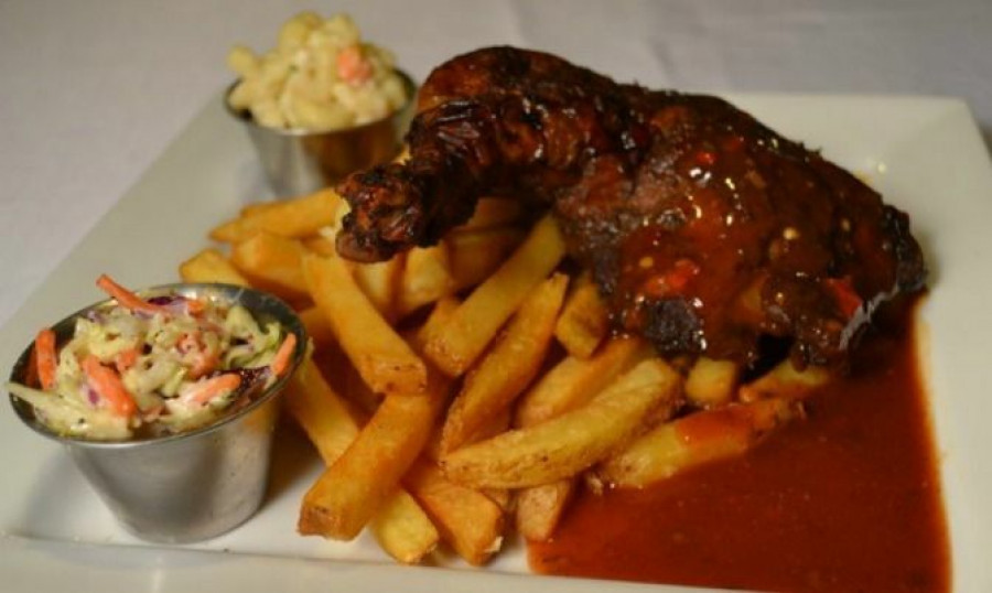 Jerk Chicken with Fries and Cole Slaw