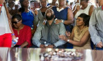 Michael Brown Sr. cries out at his son's funeral