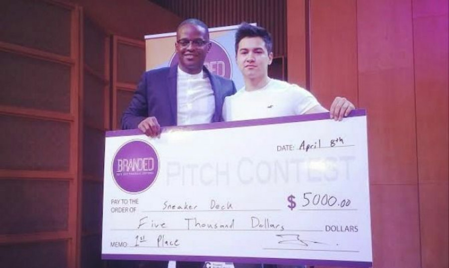 Owen Osinde (left) at the BrandedTO Pitch Contest with business partner Jasem Ahmady